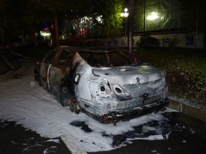 娄底一丰田轿车两次燃烧 疑人为纵火 焦点图片