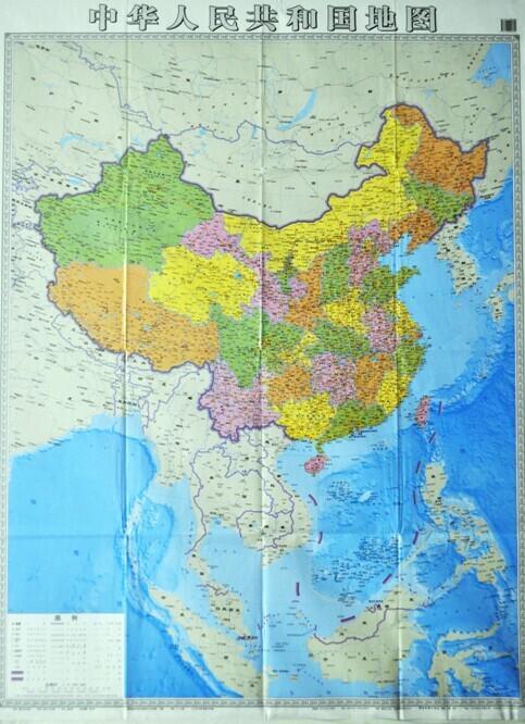 郑明 湖南印制竖版中国地图 公开南海岛屿信息
